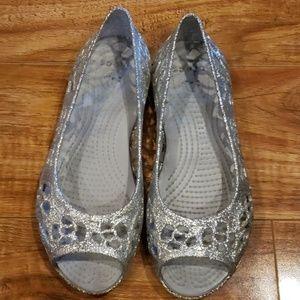 Silver Glitter Isabella Crocs